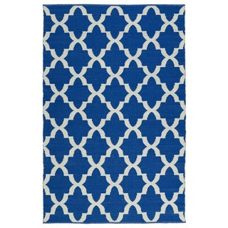 Indoor/Outdoor Laguna Navy and Ivory Trellis Flat-Weave Rug (9'0 x 12'0)