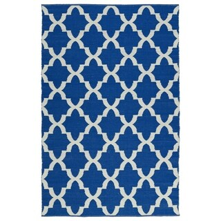 Indoor/Outdoor Laguna Navy and Ivory Trellis Flat-Weave Rug (8'0 x 10'0)