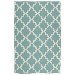 Indoor/Outdoor Laguna Seafoam and Ivory Trellis Flat-Weave Rug (8'0 x 10'0)