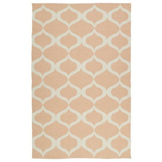 Indoor/Outdoor Laguna Pink and Ivory Geo Flat-Weave Rug (9'0 x 12'0)