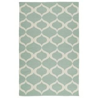 Indoor/Outdoor Laguna Mint and Ivory Geo Flat-Weave Rug (8'0 x 10'0)