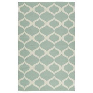 Indoor/Outdoor Laguna Mint and Ivory Geo Flat-Weave Rug (9'0 x 12'0)