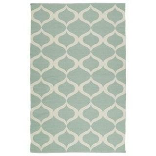 Indoor/Outdoor Laguna Mint and Ivory Geo Flat-Weave Rug (3'0 x 5'0)