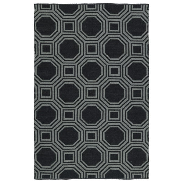 Indoor/Outdoor Laguna Black and Grey Geo Flat-Weave Rug (2'0 x 3'0)