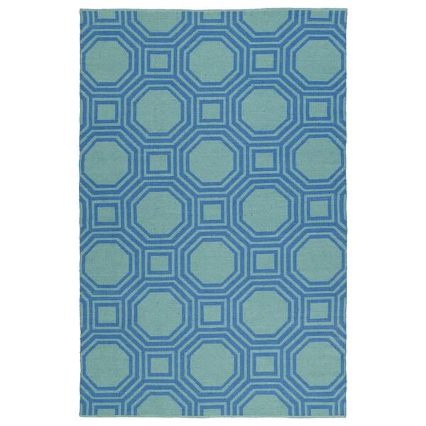 Indoor/Outdoor Laguna Turquoise and Blue Geo Flat-Weave Rug (2'0 x 3'0)