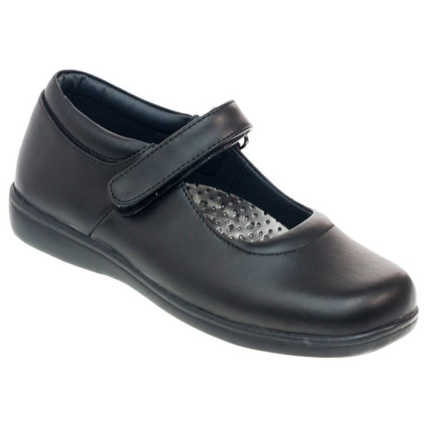 Academie Gear Schoolmate Girls' Black Leather Shoes with Straps
