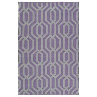 Indoor/Outdoor Laguna Lilac and Grey Geo Flat-Weave Rug (8'0 x 10'0)