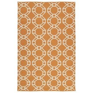 Indoor/Outdoor Laguna Orange and Ivory Geo Flat-Weave Rug (8'0 x 10'0)