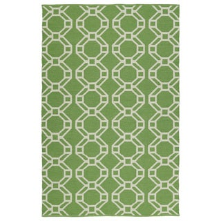 Indoor/Outdoor Laguna Lime and Ivory Geo Flat-Weave Rug (5'0 x 7'6)