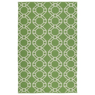 Indoor/Outdoor Laguna Lime and Ivory Geo Flat-Weave Rug (8'0 x 10'0)