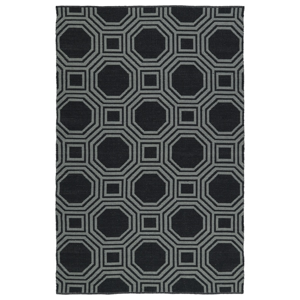 Indoor/Outdoor Laguna Black and Grey Geo Flat-Weave Rug (3'0 x 5'0)
