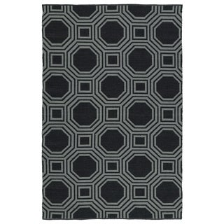 Indoor/Outdoor Laguna Black and Grey Geo Flat-Weave Rug (9'0 x 12'0)