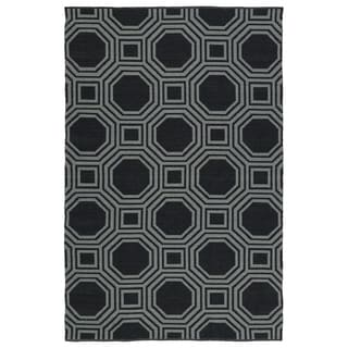 Indoor/Outdoor Laguna Black and Grey Geo Flat-Weave Rug (8'0 x 10'0)