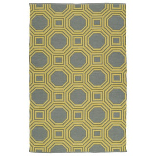 Indoor/Outdoor Laguna Grey and Yellow Geo Flat-Weave Rug (9'0 x 12'0)