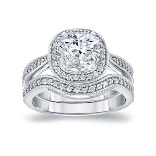 Auriya 14k White Gold 1 1/2ct TDW Cushion-Cut Diamond Halo Milgrain Bridal Ring Set (I-J, I1-I2)