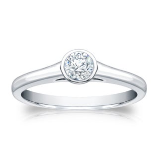 Auriya Platinum 1/4ct TDW Round-cut Diamond Bezel Solitaire Engagement Ring (H-I, SI1-SI2)