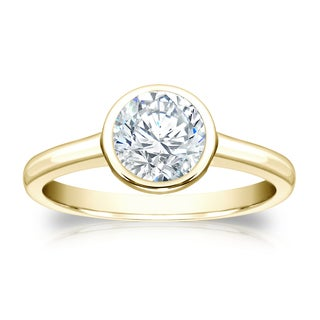 Auriya 18k Gold 1ct TDW Round-cut Diamond Bezel Solitaire Ring (H-I, SI1-SI2)