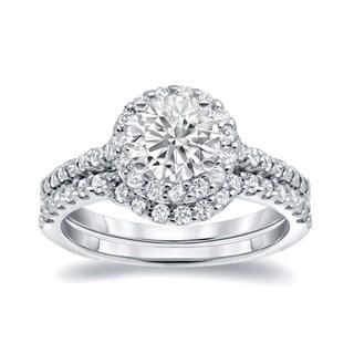 Auriya 14k White Gold 1 1/4ct TDW Round-cut Diamond Halo Bridal Ring Set (H-I, I1-I2)