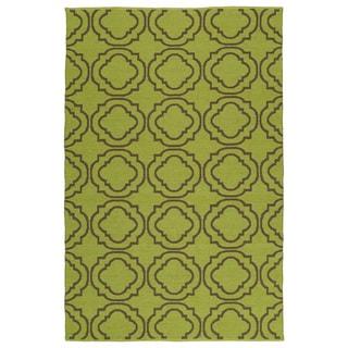 Indoor/Outdoor Laguna Avacado and Brown Geo Flat-Weave Rug (8'0 x 10'0)