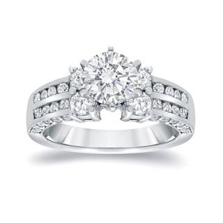 Auriya 14k White Gold 2 1/5ct TDW Certified Round-cut Diamond Engagement RIng (I-J, I1-I2)