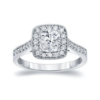 Auriya 14k White Gold 1 1/2ct TDW Certified Cushion-cut Diamond Halo Engagement Ring (H-I, VS1-VS2)