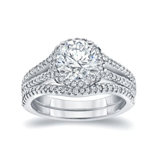 Auriya 14k White Gold 2ct TDW Round-cut Diamond Halo Bridal Ring Set (I-J, I1-I2)
