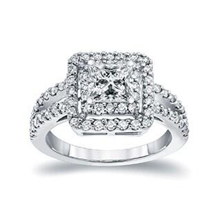 Auriya 14k White Gold 1 1/2ct TDW Princess-cut Diamond Double Halo Engagement Ring (I-J, I1-I2)