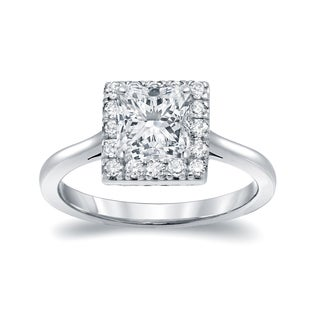 Auriya 14k White Gold 1 3/4ct TDW Princess-cut Diamond Halo Engagement Ring (I-J, I1-I2)