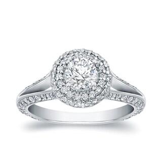 Auriya 14k White Gold 1 1/2ct TDW Round-cut Halo Diamond Engagement Ring (H-I, SI1-SI2)