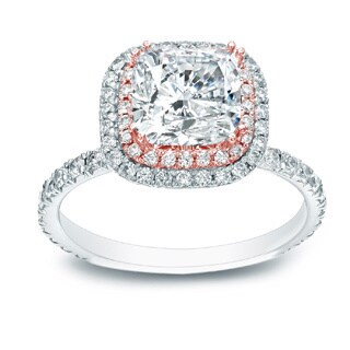 Auriya 14k Two-tone Gold 1 3/4ct TDW Certified Cushion-cut Diamond Ring (H-I, SI1-SI2)