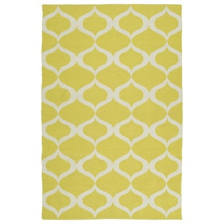 Indoor/Outdoor Laguna Yellow and Ivory Geo Flat-Weave Rug (9'0 x 12'0)
