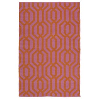 Indoor/Outdoor Laguna Pink and Paprika Geo Flat-Weave Rug (9'0 x 12'0)