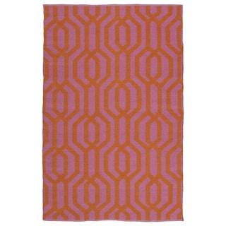 Indoor/Outdoor Laguna Pink and Paprika Geo Flat-Weave Rug (9'0 x 12'0)