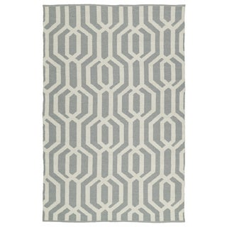 Indoor/Outdoor Laguna Grey and Ivory Geo Flat-Weave Rug (9'0 x 12'0)