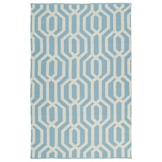 Indoor/Outdoor Laguna Spa Blue and Ivory Geo Flat-Weave Rug (8'0 x 10'0)