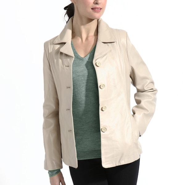 Women's Beige Lambskin Leather Button Front Jacket