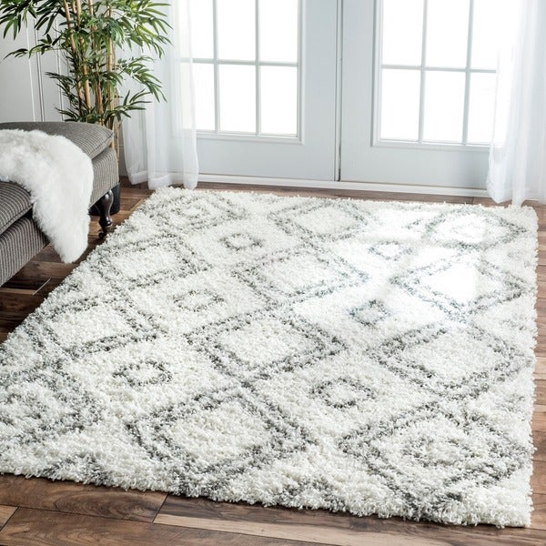 NuLOOM Alexa My Soft And Plush Moroccan Trellis White
