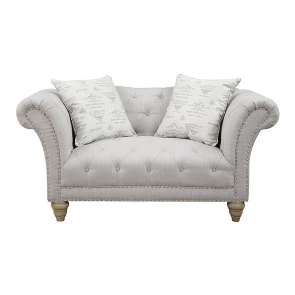 Hutton off white linen look button tufted loveseat for Button tufted chaise settee green