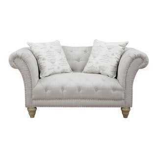 Hutton Off-White Linen-Look Button Tufted Loveseat