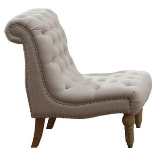 Hutton Off-White Linen-Look Button Tufted Armless Chair