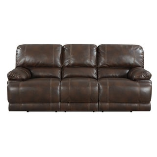 Brown Bonded Leather Dual Reclining Sofa