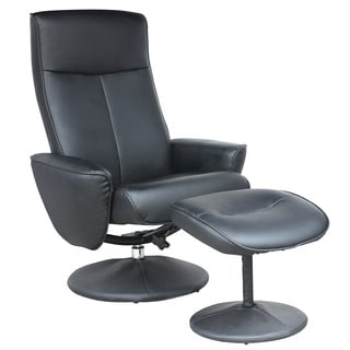 CorLiving Yalaha Leatherette Reclining Lounge Chair with Ottoman