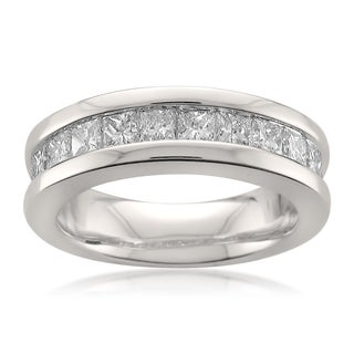 14k White Gold 1 1/2ct TDW Princess-cut White Diamond Channel-set Wedding Band (G-H, SI1)