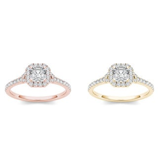 De couer 14k Gold 3/4ct TDW Diamond Halo Engagement Ring (H-I, I2)