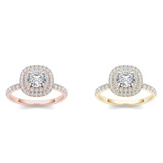 De Couer 14k Gold 1 1/4ct TDW Diamond Double Halo Engagement Ring (H-I, I2)