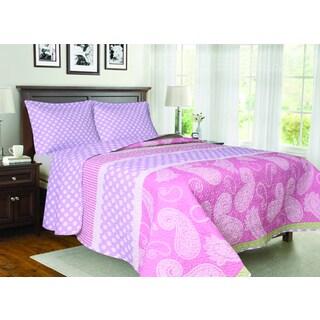 Pink Paisley 3-piece Quilt Set