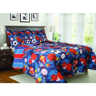 MVP Sports Themed Reversible 3-piece Quilt Set