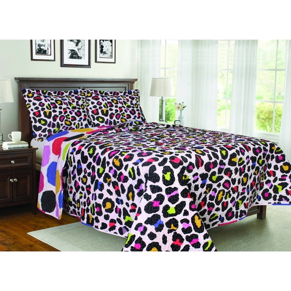 Reversible Animal Print and Polka Dot 3-piece Quilt Set
