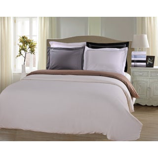 Wrinkle Resistant Solid 3-Line Embroidery 3-piece Duvet Cover Set with Giftable Box