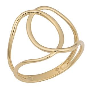 Fremada 14k Yellow Gold Stylish Overlap Ring